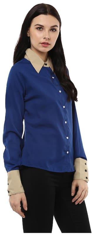 Casual Crepe Blue Kubes Kubes Blue Shirts tpqIO
