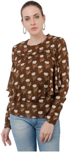 Kubes Brown Printed Rayon Round neck Top