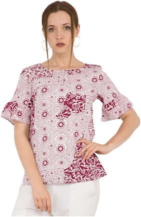 Kubes Cotton Purple Floral Printed Top