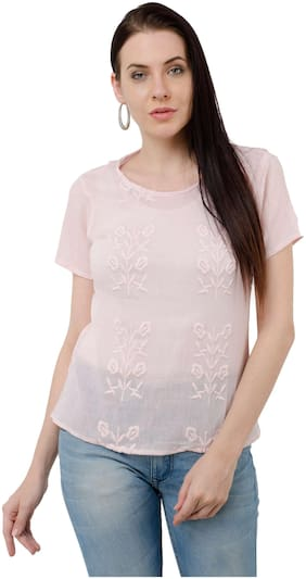 Kubes Peach Embroidery Crepe Round neck Top