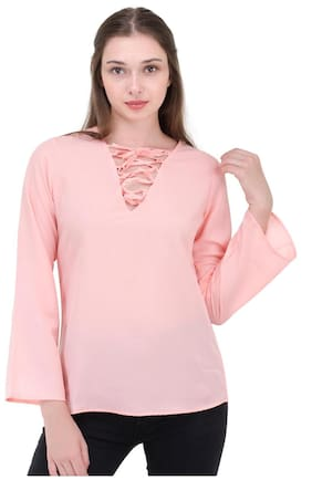 kubes Women Viscose Solid - A Line Top Pink