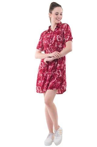 printed Half Sleeves Rayon Red Dress Kubes aqT8y