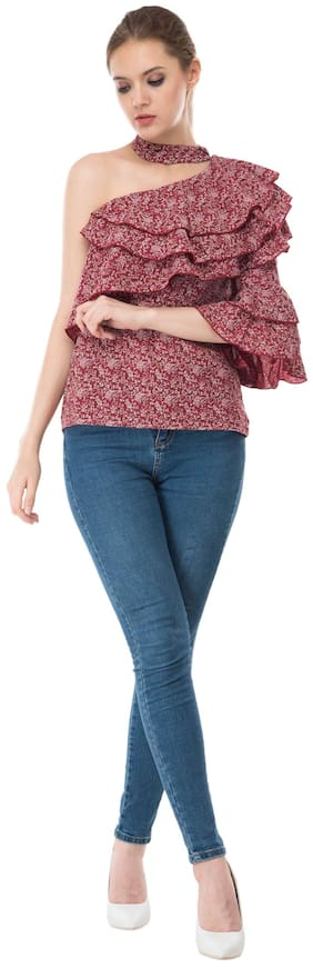 Kubes Red Printed Crepe Medium Length Top