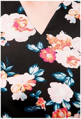 KUBES Print Floral Women's Dress Length Knee Black xXazAUnx