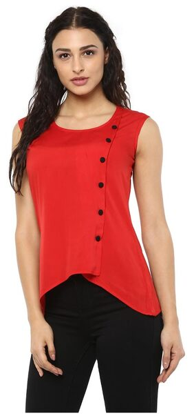 Kubes Women's Crepe Asymmetrical Solid Red Top