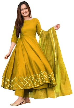 Indian Beauty Yellow Unstitched Kurta with bottom & dupatta With dupatta Dress Material