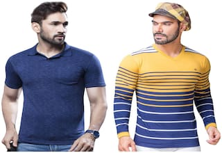 e13d4831632 Kundan Exclusive Men's 100% Pure-Cotton V-Neck Full Sleeves Slim Fit T  Shirt in Stripe Pattern & Polo Neck Fancy Half Sleeves T Shirt
