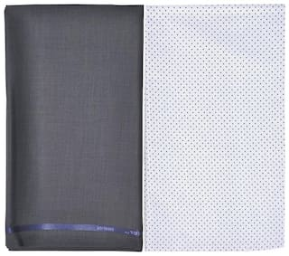 Kundan Men's Executive Pure Cotton Printed Shirt Piece & Fancy Rusty Grey Formal Trouser Fabric Combo Set ( 1 Pant and Shirt Piece for Men )