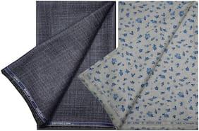 Kundan Men's Executive 100% Pure Cotton Print Shirt & Self Design Pattern Fancy Grey Trouser Fabric Combo Set