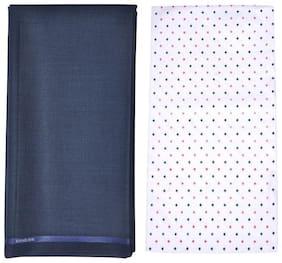 Kundan Men's Executive Pure Cotton Printed Shirt Piece & Fancy Navy Blue Formal Trouser Fabric Combo Set ( 1 Pant and Shirt Piece for Men )