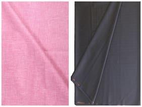 Kundan Men's Executive Pink Linen Shirt & Fancy Navy Blue Trouser Fabric Combo Set