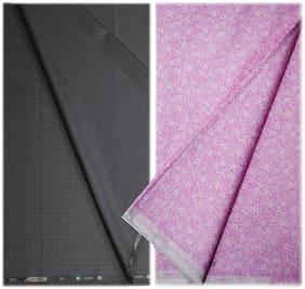 Kundan Men's Executive 100% Pure Cotton Fancy Print Shirt & Navy Blue Color Shining Pattern Trouser Fabric Combo Set