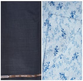 Kundan Sulz Gwalior Men's Executive Pure Cotton Print Shirt & Fancy Trouser Fabric Combo Set ( 1 Pant Shirt Piece for Men )