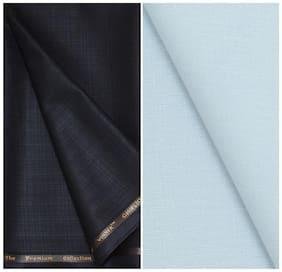 Kundan Sulz Gwalior Men's Executive Pure Cotton Sky Blue Color Linen Blended Shirt & Fancy Dark Brown Colour Trouser Fabric Combo