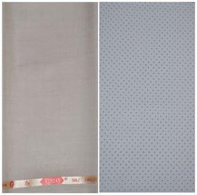 Kundan Sulz Gwalior Men's Executive White Base Print Shirt & Fancy Soft & Smooth Beige Colour Trouser Fabric Combo Set ( 1 Pant Shirt Piece for Men )