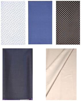 Kundan Sulz Gwalior Men's Executive Pure Cotton Printed 3 Shirt Piece & Beige & Rusty Grey Color 2 Formal Trouser Fabric Combo Set ( 2 Pant and 3 Shirt Piece for Men )