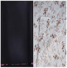 Kundan Sulz Gwalior Men's Executive Multi Print Shirt & Fancy Soft & Fancy Multi Color Trouser Fabric Combo Set ( 1 Pant Shirt Piece for Men )