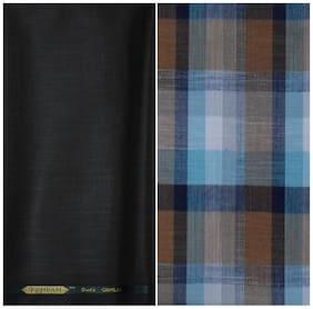 Kundan Sulz Gwalior Men's Executive Pure Cotton Checks Shirt & Fancy  Trouser Fabric Combo Set ( 1 Pant Shirt Piece for Men )