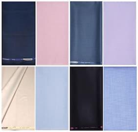Kundan Sulz Gwalior Men's Executive Cotton Linen Look Shirt & Fancy Formal Trouser Fabric Combo Set ( 4 Pant Shirt Piece for Men )