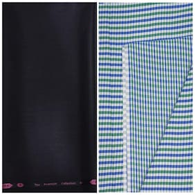 Kundan Sulz Gwalior Men's Executive Checks Shirt & Fancy  Trouser Fabric Combo Set ( 1 Pant Shirt Piece for Men )