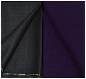 Kundan Sulz Gwalior Men's Executive Pure Cotton Dark Purple Color Linen Blended Shirt & Fancy Military Green Colour Trouser Fabric Combo