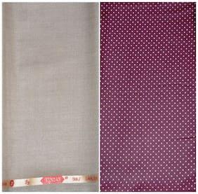Kundan Sulz Gwalior Men's Executive Maroon Print Shirt & Fancy Soft & Smooth Beige Colour Trouser Fabric Combo Set ( 1 Pant Shirt Piece for Men )