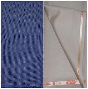 Kundan Sulz Gwalior Men's Executive Blue Print Shirt & Fancy Soft & Smooth Beige Colour Trouser Fabric Combo Set ( 1 Pant Shirt Piece for Men )