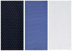 Kundan Sulz Gwalior Men's Executive Pure Cotton Black, Blue & White Base Print Shirt Fabric ( 3 Shirt Piece for Men )
