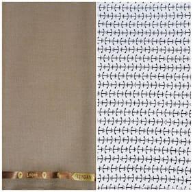 Kundan Sulz Gwalior Men's Executive White Base Print Shirt & Fancy Soft & Smooth Light Golden Colour Trouser Fabric Combo Set