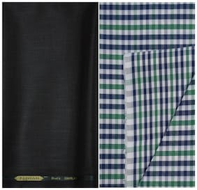 Kundan Sulz Gwalior Men's Executive Checks Shirt & Fancy  Trouser Fabric Combo Set ( 1 Pant Shirt Piece for Men )