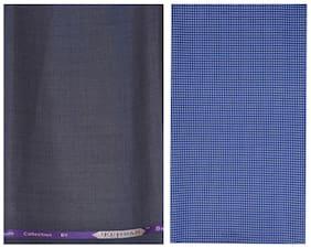 Kundan Sulz Gwalior Men's Executive Pure Cotton Blue Printed Shirt Piece & Fancy Rusty Grey Formal Trouser Fabric Combo Set