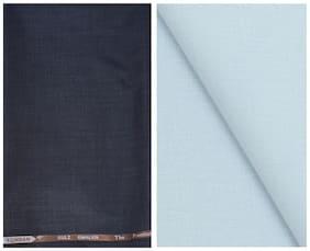 Kundan Sulz Gwalior Men's Executive Fancy Dark Brown Trouser & Pure Cotton Linen Blended Sky Blue Shirt Fabric Combo Set