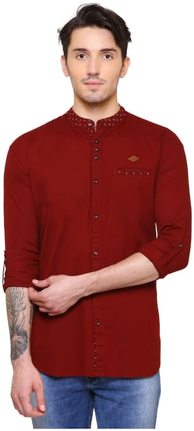 Kuons Avenue Men's Solid, Printed Party Wear Cotton Maroon Shirt