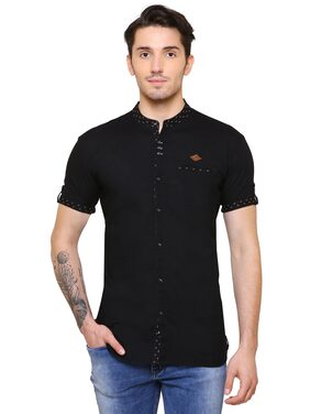 Kuons Avenue Men Slim Fit Casual shirt - Black