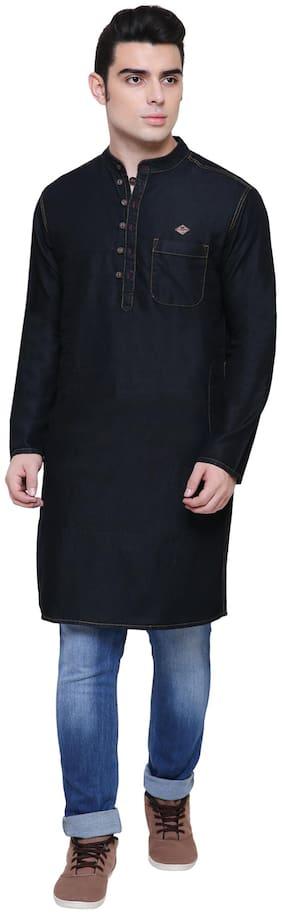 Kuons Avenue Full Sleeve Black Denim Long  Kurta For Men