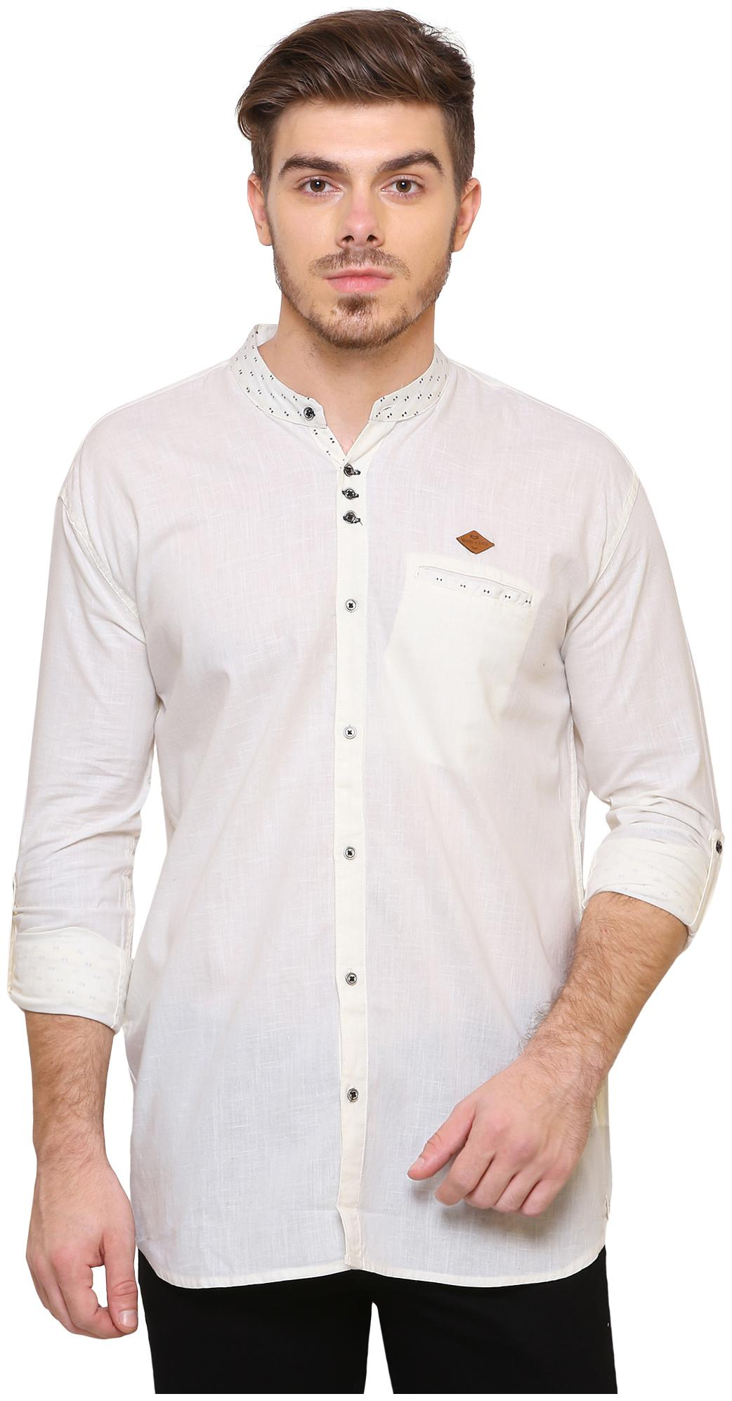 Kuons Avenue Men White Solid Slim Fit Casual Shirt