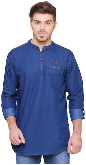 Kuons Avenue Men's Solid Casual Denim Blue(Indigo) Straight Kurta