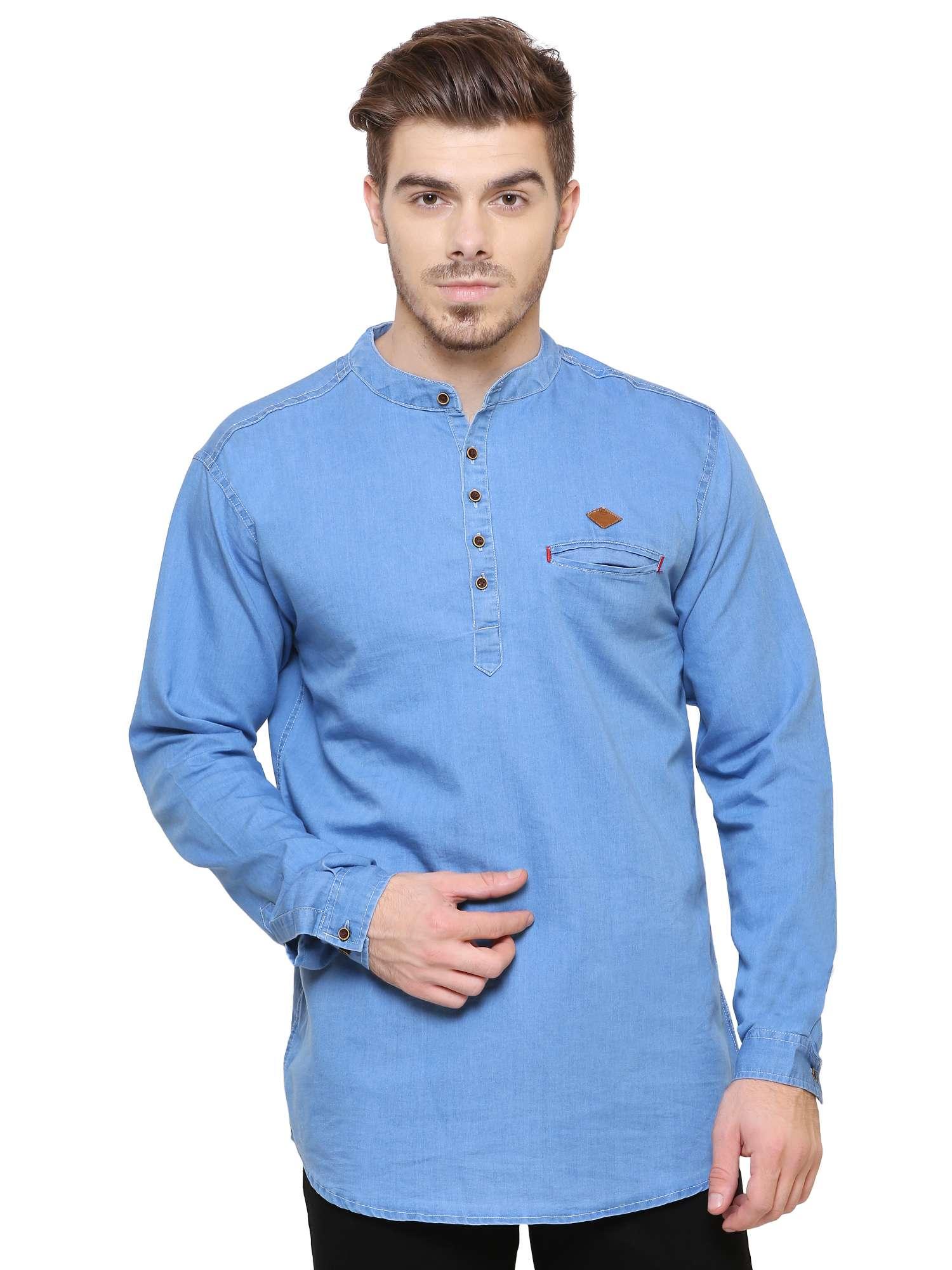 Kuons Avenue Men's Light Blue Denim Solid Casual Kurta Shirt