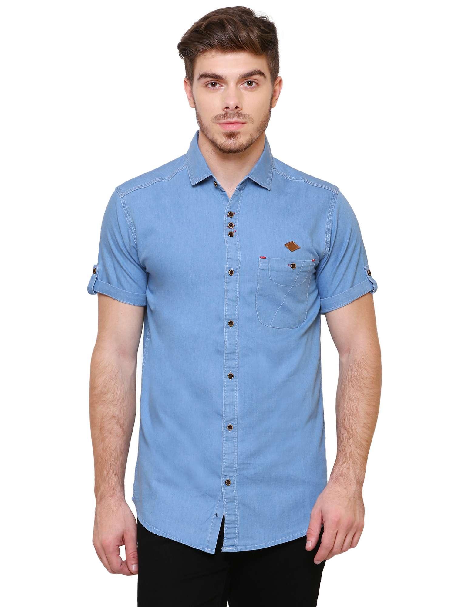 Kuons Avenue Denim Cotton Half Sleeve Casual Shirt for Men