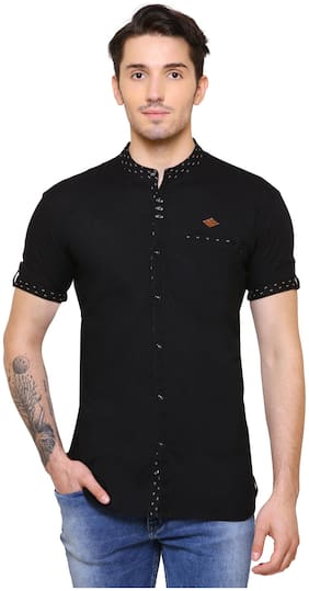 Kuons Avenue Men Slim fit Casual shirt - Black