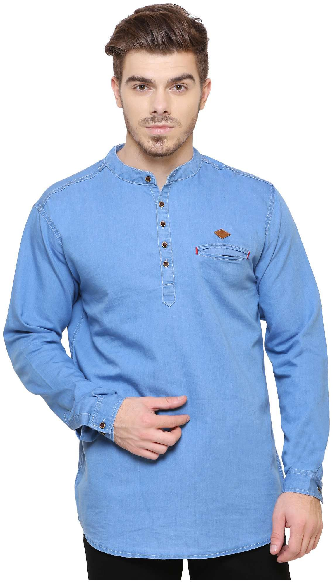 Kuons Avenue Men's Light Blue Denim Solid Casual Kurta Shirt