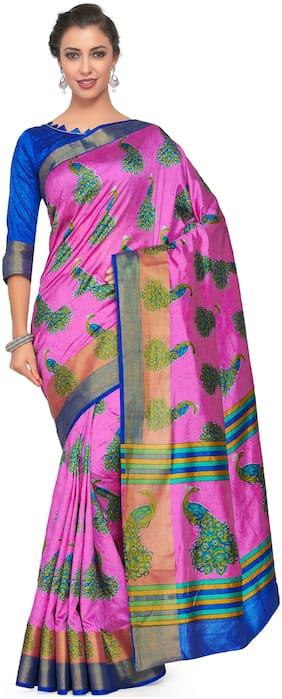 Kupinda Art Kalamkari prints saree with ikkat;pochampally and kanjivaram print pattren ith Contrast Blouse Color: Pink (4257-RP6-SALN-19-PNK)