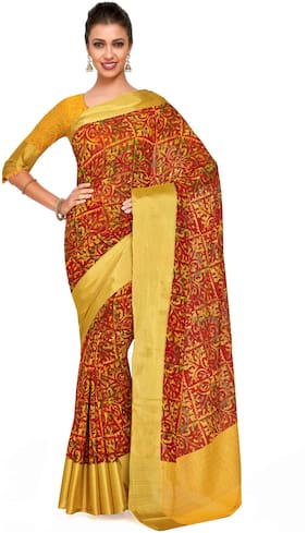 Kupinda Art Kalamkari prints saree with ikkat;pochampally and kanjivaram print pattren ith Contrast Blouse Color: Gold (4241-C7-SALN-16-GLD)
