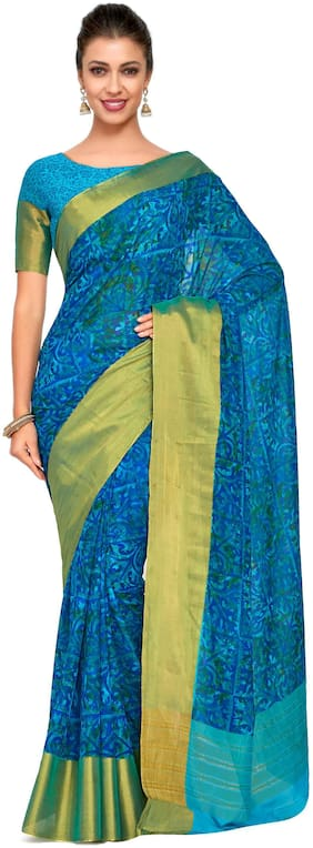 Kupinda Art Kalamkari prints saree with ikkat;pochampally and kanjivaram print pattren ith Contrast Blouse Color: Turquoise (4241-C7-SALN-16-AND)