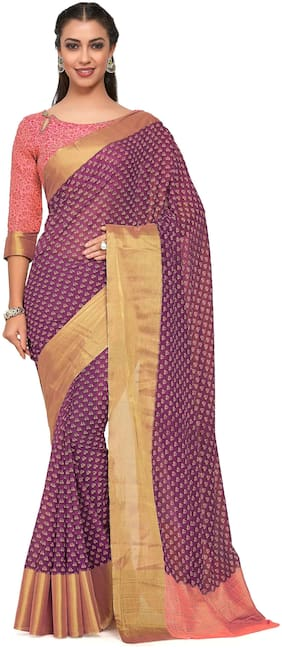 Kupinda Art Kalamkari prints saree with ikkat;pochampally and kanjivaram print pattren ith Contrast Blouse Color: Pink (4242-C7-SALN-17-MEJ)