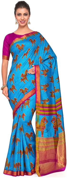 Kupinda Art Kalamkari prints saree with ikkat;pochampally and kanjivaram print pattren ith Contrast Blouse Color: Turquoise (4260-RP2-SALN-22-AND)