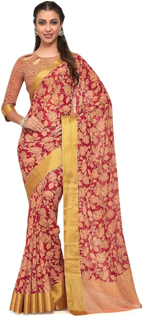 KUPINDA Chiffon Kalamkari Block print work Saree - Red , With blouse