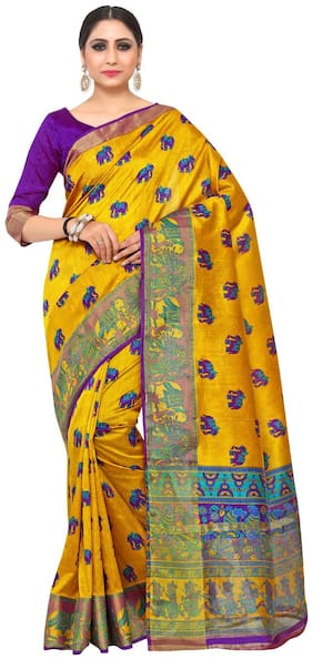 Kupinda Kalamkari Print Art Raw Silk saree Color:Gold (4193-SALN-13-PT-GLD)