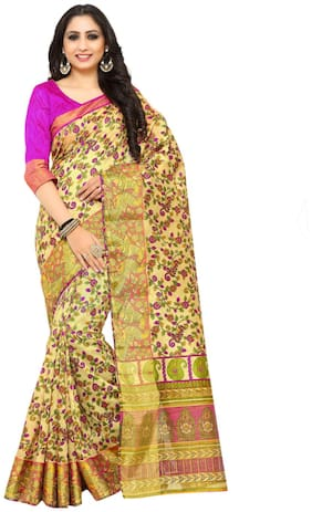 KUPINDA Silk Kalamkari Block print work Saree - Multi , With blouse