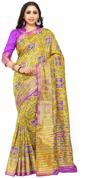 Kupinda Kalamkari Print Art Raw Silk saree Color:Gold (4189-SALN-9-PT-GLD)